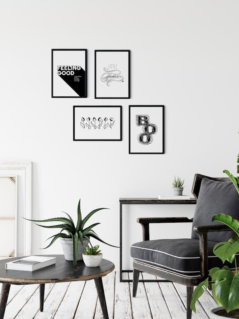 Gallery wall arrangement - Adoria Moon posters